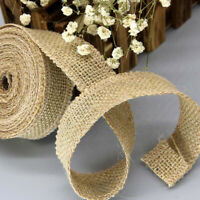 10M/Roll Natural Jute Burlap Hessian Ribbon Lace Trims Tape Rustic Wedding CVH