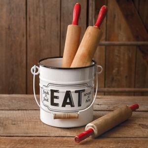 EAT White with Black Trim Enamel Bucket