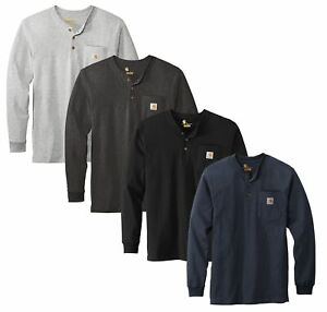 Carhartt Mens Workwear Long-Sleeve Pocket Henley T-Shirt CTK128 - New 2021