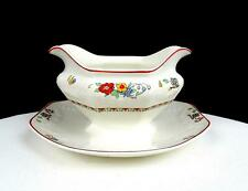 """J & G MEAKIN ENGLAND EMBOSSED FLORAL SWAGS & RIBS 3"""" GRAVY BOAT & PLATE 1930-49"""