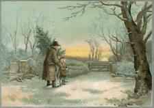 Victorian Xmas Card Old Man and Young Girl in Glittering Winter landscape