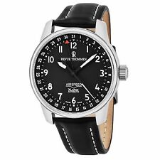 Revue Thommen Men's Air Speed Black Dial Black Leather Strap Watch 16050.2537