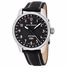 Revue Thommen Men's Air Speed Black Dial Black Leather Strap Watch 16050.2537