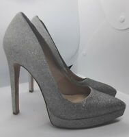 "BCBGMAXAZRIA Silver Glitter High Stiletto Shoes Size 4.5 UK 37.5 EU Over 5"" Heel"
