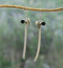 Leverback Tassel Earrings Fine Sterling Silver w/ Pearl & Agate New Jewelry