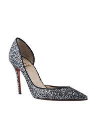 Christian Louboutin Iriza 100 Glitter Silver Leather Heels, Size 6