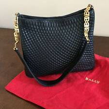 VINTAGE BALLY CLASSIC NAVY QUILTED LEATHER SHOULDERBAG WITH GOLD HARDWARE