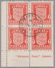 Jersey Mi.Nr. 2 y, zentrisch gestempelter Eckrandviererblock mit Druckvermerk