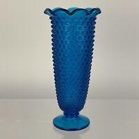 Vintage Fenton Colonial Blue Tall Hobnail Trumpet Vase Pre-Logo Excellent Cond.