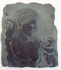 "COLLECTIBLE HERMES HOLDING DIONYSUS 8.5"" WALL HANGING PLAQUE ART, MADE IN GREECE"