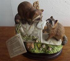 Homco/Home Interior Masterpiece Porcelain Figurine Two Raccoons,Shiro Mizuno