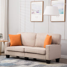 2-seater Upholstered Fabric Linen Sofa Loveseat Couch Lounge With Armrest Beige