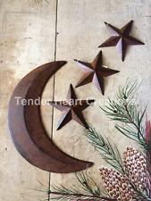 "(SET) 12"" Moon & 3 Rust & Black Barn Stars 5.5"" Distressed Tin Primitive Country"