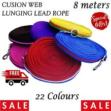 New Long Lunge Line Rope Rein 8 Meter Dog Horse Pony Training Lead *ALL Colours*