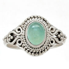 Aqua Chalcedony 925 Silver Ring Jewelry s.9 AQCR418