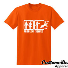 Problem Solved T-shirt. Funny Stick Figure single life divorce humor Joke shirt.