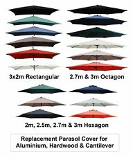 More details for 2m 2.5m 2.7m 3m 3x2m replacement fabric garden parasol canopy cover 6 or 8 arm