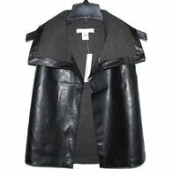 August Silk - Women's M - NWT$68 - Black & Gray Faux Leather Mixed Media Vest