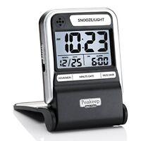 Peakeep Ultra Compact Battery Travel Alarm Clock with Calendar, Ascending Beep