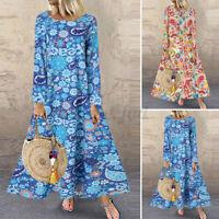 Women Vintage Printed Long Sleeve Casual Loose Kaftan Baggy Maxi Dress Plus Size