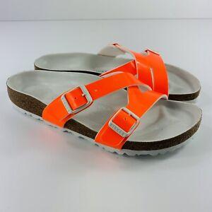 Birkenstock NWOB Neon Orange Patent Leather Yao Birko-Flor 38B (Narrow Width)