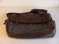 FOSSIL GRAY NYLON AND LEATHER TRIM LARGE SOFT BRIEFCASE COMPUTER BAG - GUC