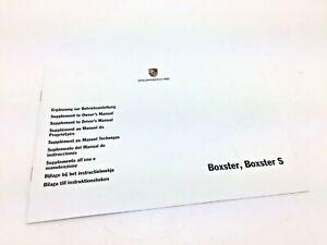 Véritable Porsche Boxster 986 & S Supplement À Propriétaire / Coté Manuel