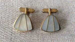 Vintage cufflinks - triangular mother of pearl elegant design - no box - 70s