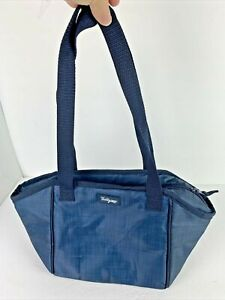 Thirty-One 31 Insulated Lunch Tote Picnic Zip Bag Navy Blue 9.5x8.5x6 Long strap