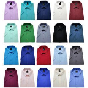Men's Short Sleeve Shirts Plain Cotton Regular Fit Formal collar Casual BIG size