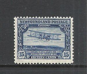 NEWFOUNDLAND SCOTT 156 MLH FINE - 1928 15c DEEP BLUE ISSUE   CV $9.25