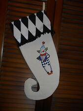 Primitive Clown, Harlequin Handmade Embroidered Halloween Stocking