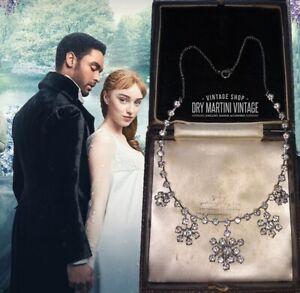 VINTAGE ART DECO BEAUTIFUL DIAMOND RHINESTONE DAISY STAR NECKLACE BRIDAL GIFT