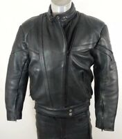 Akito Rapide Black Leather Biker Motorcycle Jacket Thinsulate Lining Size 14