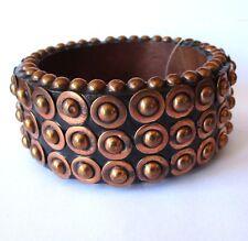 BIJOUX TERNER NOS Designer Couture Modernist Cuff Bracelet Bangle Copper Studs