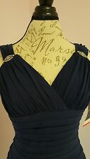 Womens NWT  Evening/ Cocktail/ Party dress, rhinestone jewel size 6 navy blue