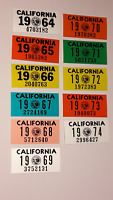 California 63 black License Plate 56 Sticker 1957-74 & Red Month YOM 66 67 68 69