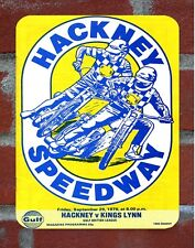 Vintage Tin Sign 1978 Hackney  Speedway Programme Metal Sign Man Cave