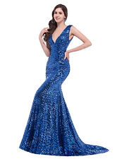 Women Prom Mermaid Evening Party Formal Sequin Bridesmaid Wedding Long Dress RED