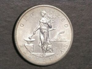 PHILIPPINES 1903S 1 Peso Silver Crown Choice AU-UNC