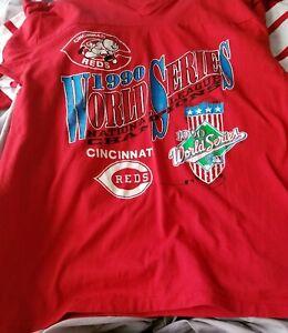 Vtg 1990 Cincinnati Reds Logo7 World Series tee size L fits M