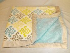 Damask Blankets and Beyond plush Blanket Baby Grey Trim Blue lime Green Sherpa