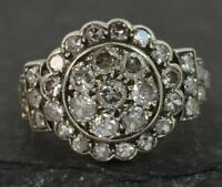 Art Deco 1.50ct Diamond 18ct Gold & Platinum Cluster Ring d0269