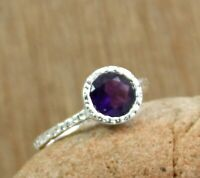 Solid 925 Sterling Silver Amethyst Gemstone Hand Hammered Gift Ring Size 6.75 US