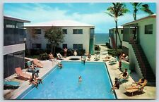 Carnaval de Venise Pool in Lauderdale-by-the-Sea, Florida Chrome Postcard Unused