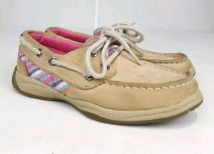 Sperry Top-Sider Tan Canvas Boat Shoes Sz 11M Youth