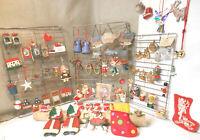 Christmas Tree Decorations Lot of 76 Vintage Ceramic, Pewter, Wood, Plastic Rare