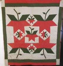 Amazing Pattern! c 1890s Pa Tulip Quilt Antique Applique Berks County Farmhouse
