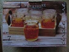 Circleware Yorkshire Seven Piece Set Whiskey Shot 3.4 oz Glasses & Wooden Tray