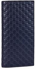 New Gucci 449245 Men's BLUE Leather Micro GG Guccissima Long Wallet W/ID Window